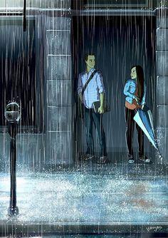yaoyao ma van as illustration Illustration Mode, Couple Illustration, Website Illustration, Digital Illustration, Love Cartoon Couple, Couple Drawings, Couple Art, Couple In Rain, Love Art