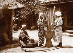 OKINAWAN FARM GIRLS POUNDING RICE, ca. 1925