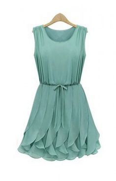 Alice In Wonderland Whimsical Petals Green Chiffon Dress. Summer Dress-$78.90