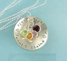 Sterling Silver Birthstone Necklace Domed Disc Handstamped Large Personalized. $45.00, via Etsy.