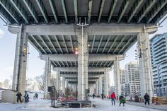 The Bentway Skate Trail has officially arrived in Toronto. What is the Bentway, you ask? It's the project revitalizing the area underneath the Gard. Canada, Pop Up, Skate, Toronto, Trail, Public, Around The Worlds, Street View, Live