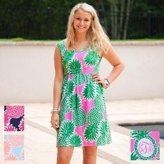 Ladies Custom Print Pineapple Tank Dress