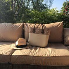 O bag mini in sand with ivory suede trim and natural fix snake handles, just Chillin' #summer #garden #sunshine #obag