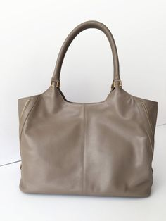 SALE ! Taupe leather tote, Leather laptop bag, Leather handbag, Leather tote woman, Leather bag, Leather tote women, Leather Taupe tote