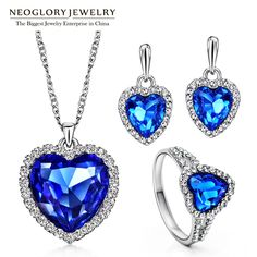Blue Heart Crystal Wedding Jewelry Sets for Women Bridal Birthday Gifts  New