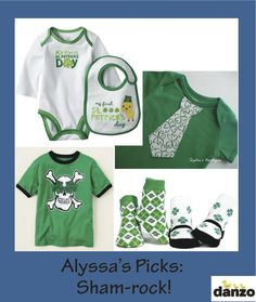 St. Patrick's Day is approaching! I've gathered some great green goods to stash in the diaper bag to help all of our Danzo Babies out in a pinch: (clockwise from top left) Carter's, Sophie's Boutique, Trumpette and The Children's Place.