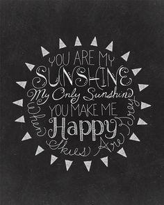 You Are My Sunshine - 8 x 10 Print - Hand Lettered Print- Chalk Art- Chalkboard Art - Digital Print on Etsy, $8.00