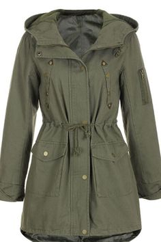 Drawstring Hooded Army Green Trench Coat