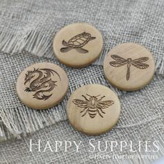 4Pcs 25mm Tortoise Dragonfly Dragon Bee Handmade Photo Laser Cut Wooden Cabochon Charms Pendants For Jewelry Making Supplies