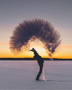 Boiling water meets -30°C, Juuma, Oulun Lääni, Finland  📷 by: @seffis #OurLonelyPlanet #Winter #Finland