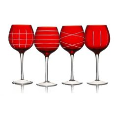 Fifth Avenue Crystal 4-pc. Wine Glass Set, Red ($40) ❤ liked on Polyvore featuring home, kitchen & dining, drinkware, red, czech crystal wine glasses, red wine glasses, crystal wine glass set, colored wine glasses and crystal wine glass
