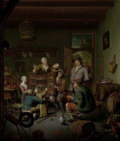 Willem van Mieris | The Raree-show ('t Fraay Curieus), Willem van Mieris, 1718 | De rarekiek (door de kunstenaar ' 't Fraay Curieus' genoemd).  In een interieur toont een rondtrekkende Savooiaard een kijkkast ten overstaan van een familie met kinderen. In de rarekiek zijn scènes voorgesteld, wellicht uit een ridder- of andere populaire roman. De kamer staat vol huisraad: een spinnewiel, manden met fruit, speelgoedmolentjes, een mand, sloffen en een emmer met een bezem. Tegen de rechterwand…