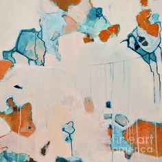 Abstract 133 by Iris Lehnhardt rust aqua teal turquoise