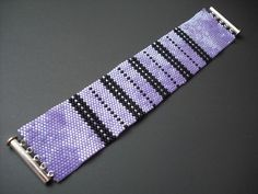 Lilac and black peyote bracelet