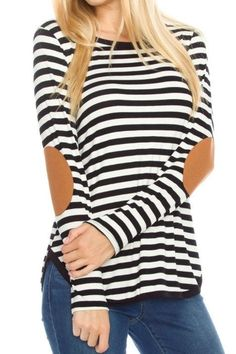 Holly Elbow Patch Striped Top