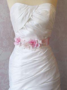 Pink Bridal Sash Cherry Blossom Wedding Belt by TheRedMagnolia
