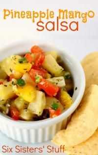Six Sisters Pineapple Mango Salsa is perfect with tortilla chips! We love this! #sixsistersstuff