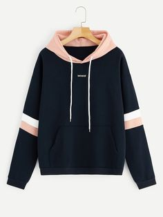 To find out about the Letter Embroidered Contrast Striped Hoodie at SHEIN, part of our latest Sweatshirts ready to shop online today! Teen Fashion Outfits, Fashion Mode, Girl Outfits, Casual Outfits, Style Fashion, Fashion Ideas, Trendy Hoodies, Hoodie Sweatshirts, Men's Hoodies