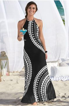 Strappy Maxi Dress, Halter Maxi Dresses, Sexy Dresses, Dress Outfits, Casual Dresses, Fashion Dresses, Samoan Dress, Kaftan Designs, Venus Clothing