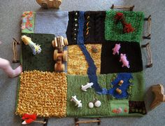 Knitted farm. Do a swap with 10 friends. Everyone makes 10 squares then trades. I LOVE THIS