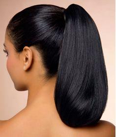 Nicely done...MKS Sleek Hairstyles, Ponytail Hairstyles, Straight Hairstyles, 1950s Hairstyles, Hair Ponytail, Indian Hairstyles, Long Silky Hair, Long Dark Hair, Super Long Hair