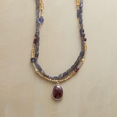 "THREE OF A KIND NECKLACE -- What do iolite, garnets and citrine have in common? They all look beautiful on you, especially in a handmade necklace lit up with sterling silver, 14kt gold-filled and 18kt gold vermeil beads. USA. Sterling silver french wires. Exclusive. 17"" to 18-1/2""L."