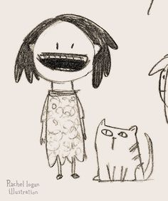 girl cat sketch, just doodling. Happy girl in a dress with a stripy cat beside her. #rachellogan #illustration