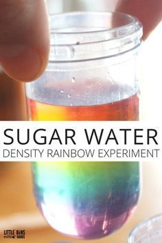 Sugar water density rainbow science experiment for kids. Fun and simple kids science experiment using sugar and water and food coloring. Kitchen science you can do anytime.