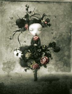 »Flora« · 2005 · Mischtechnik und digital · 23 cm x 30 cm von Nicoletta Ceccoli