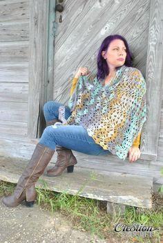The Calypso Shawl, an asymmetric triangle crochet shawl, is a great, all season…