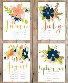 2015 Floral Calendar Botanical Wall Calendar by LittleBirdPrinting