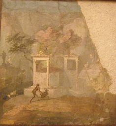 Landscapes from Pompeii or Herculaneum - Naples, Archaeological Museum Ancient Ruins, Ancient Artifacts, Ancient Rome, Ancient History, Art History, Historical Art, Historical Architecture, Fresco, Pompeii And Herculaneum