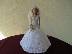 Barbie wedding dress hand make crochet wedding bride