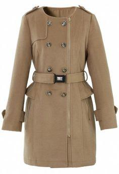 Camel Peplum Wool-blend Coat with Belt