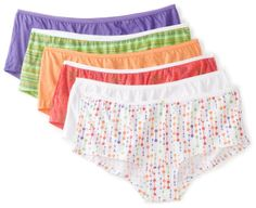 Fruit of the Loom Women's 6 Pack Boyshort Panties ($9.34) - They fit well and they don't ride up. - These are not made of comfortable or quality material, do not hold their shape, and feel like wearing very cheap children's underpants. - Thought these corresponded with pants size but they are way too large for that to be true. http://www.amazon.com/exec/obidos/ASIN/B0073CYB9O/hpb2-20/ASIN/B0073CYB9O