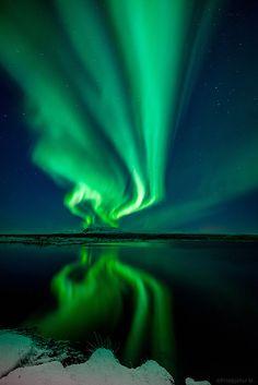 Aurora Reflected In Þingvallavatn