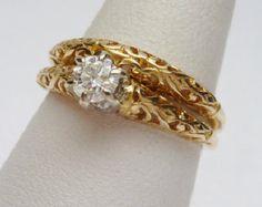 vintage 1970's wedding ring sets | 14kt Filigree 25 pt Diamond Wedding Set 1970s ...