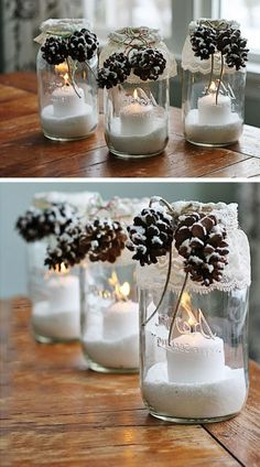 Christmas decorations to make your own - 40 beautiful ideas!fr - ideas for my new room - noel Simple Christmas, Winter Christmas, Christmas Home, Beautiful Christmas, Easy Christmas Decorations, Christmas Centerpieces, Table Decorations, Natal Diy, Deco Table Noel