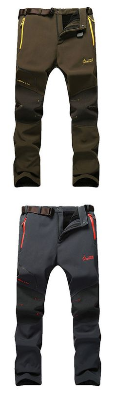 Mens Outdoor Durable Soft Shell Warm Lined Water-repellent Breathable Stitching Color Sport Pants