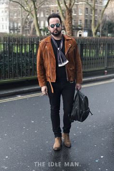 London Collections Men street style, tan suede jacket, scarf and a pair of smart boots | The Idle Man