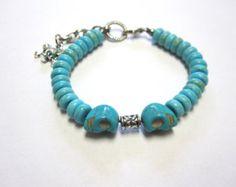 Day Dead Bracelet Sugar Skull Strand Turquoise Blue Silver Unisex Bracelet