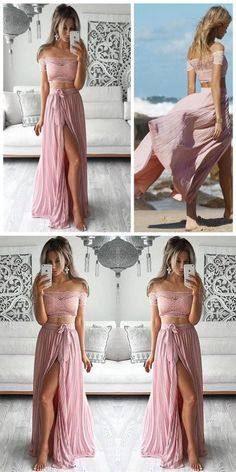 2017 prom dress, two piece prom dress, pink prom dress, long prom dress with side slit