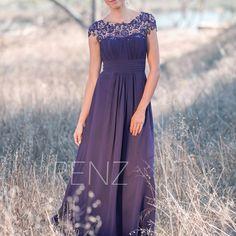 2015 Purple Bridesmaid dress Lace Illusion Wedding dress Long Chiffon Womens Party dress Maxi dress Prom dress Floor length (T136) (118.00 USD) by RenzRags
