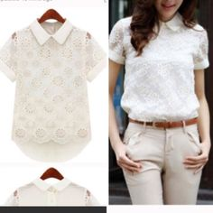Embroidered lace floral shirt-4- Lace embroidered. Hi lo shirt. Bust: 36.2 inches , front length: 23.6 inches, back length: :26.3 inches. Tops Tees - Short Sleeve