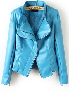 CUTE!!!! Blue Leather Jacket - this would be great paired with skinny black jeans and a sparkly cami!!!