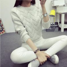 One Size Wool Sweater - White