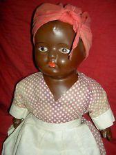 """Wonderful large 1920s vintage BLACK """"Aunt Jemima"""" composition doll, all original"""