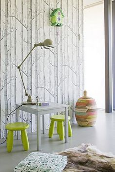 gotta love the birch tree wall paper