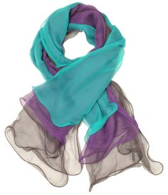 Gradient color in luxuriously pure silk offers a romantic touch to your ensemble.