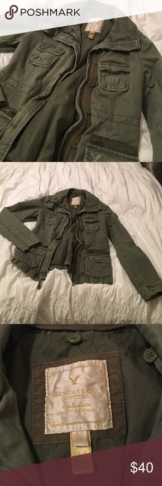 Military style American Eagle Jacket, SZ XS This military style American Eagle jacket is in fantastic condition. It's really good quality with a lot of detail. Size XS. American Eagle Outfitters Jackets & Coats Utility Jackets
